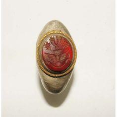 Anillo grabado antiguo romano plata y oro (1)