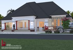 1 new message 4 Bedroom House Designs, Bungalow Designs, House Construction Plan, Modern House Plans, Building Design, Exterior, How To Plan, Mansions, Architecture