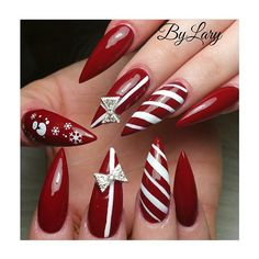 Pretty Christmas Stiletto nails ! | ideas de unas | acrylic and gel nails, nail art