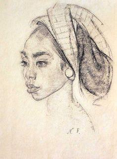 Nicolai Fechin / Фешин Николай Иванович (1881 - 1955) Девочка с серьгой с острова Бали. После 1938