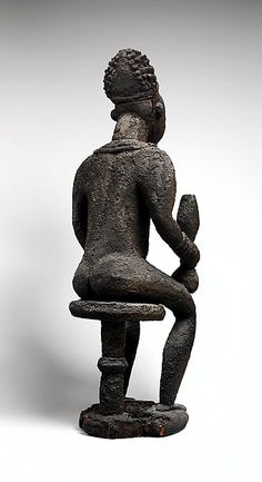 Commemorative figure of a chief  19th century Cameroon, Grassfields region Bamileke peoples  Wood