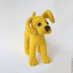 Cute Handmade Yellow Felted Puppy - dog, puppy, felted toy, felted dog