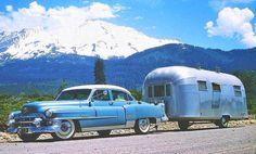 Cadillac and an Avion Trailer Teardrop Camper Trailer, Camper Caravan, Car Trailer, Retro Caravan, Camper Van, Vintage Rv, Vintage Airstream, Vintage Trucks, Vintage Campers