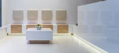 reception with sitting places from white glossy MDF and oak orders/price offers at: office Decor, Furniture, Shelves, Shelving Unit, Home Decor, Oak, White, Shelving