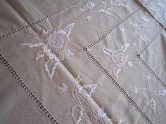 Linen embroidery table cloth