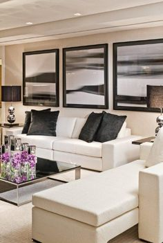 Maybe for more formal lounge we look at combo of white leather couch and some interesting occasional chairs