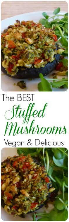 The best vegan recipe for stuffed portobello mushrooms ever! Perfect for a main course or make mini versions for canapes.
