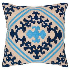 The perfect accent for your master bed or reading nook arm chair, this cotton and jute pillow showcases a scrollwork-inspired motif in a saturated indigo pal...