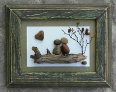 "Pebble Art, Rock Art, Pebble Art Birds, Rock Art Birds, perched on a branch, sunset scene, 5x7 ""open"" frame, bird lovers, (FREE SHIPPING) by CrawfordBunch"