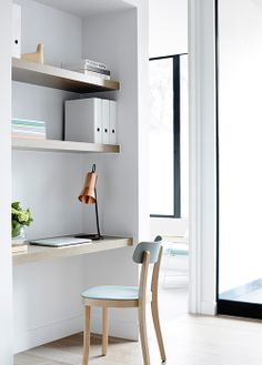 Surprising Tricks: Floating Shelves With Drawers Home Office long floating shelves bedroom.Floating Shelf Under Tv Fire Places farmhouse floating shelves diy. Workspace Design, Home Office Design, House Design, Mim Design, Office Nook, Spare Room Office, Cozy Home Office, Home Office Space, Office Workspace