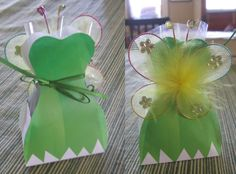 Tinker Bell's dress favor box with butterfly wings hair clip attached. - (box printable available on my Tinkerbell Tea Party board, link to purchase lot of butterfly clips also in that board)