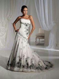 White & Black Wedding Gown