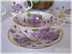 Hello friends, I am joining Sandi at Rose Chintz Cottage for her special spring tea party. Tea Cup Set, My Cup Of Tea, Tea Cup Saucer, Tea And Crumpets, Sweet Violets, Spring Party, China Tea Cups, Vintage China, Vintage Teacups