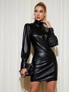 Sexy Outfits, Curvy Outfits, Skirt Outfits, Sexy Dresses, Dress Skirt, Leather Dresses, Leather Skirt, Leather Bodycon Dress, Looks Pinterest