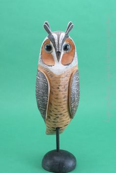 Long-eared owl by Jay Miles made from an old decoy body   See our latest carvings & updates at Kicking Bull Gallery Facebook.
