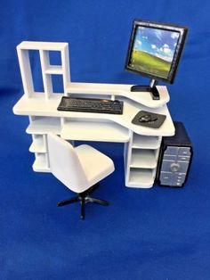 Dollhouse-Miniature-White-Computer-Desk-Set-6-Pc-1-12