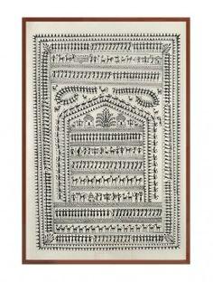 Saura Tribal Life Painting on Silk x Indian Folk Art, Indian Ethnic, Worli Painting, Shadow Box Art, Life Paint, Indian Art Paintings, Hindu Art, Art And Architecture, Shawls