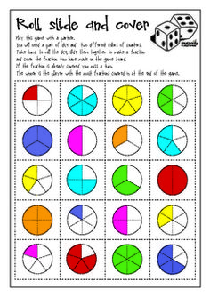 A 2-player game to practice fraction recognition.Roll a pair of dice, make a fraction and cover the correct fraction illustration on the gameboar...