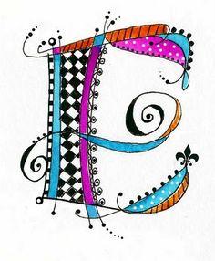 Aimer ces modèles de lettre ... On pourrait utiliser avec Zentangle Idées