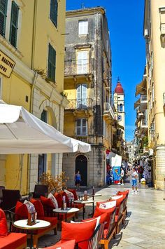 Greece Travel Inspiration - Morning Coffee in one of the lovely little streets of Corfu Town , Greece Places Around The World, The Places Youll Go, Great Places, Places To Go, Around The Worlds, Santorini, Beautiful World, Beautiful Places, Corfu Greece