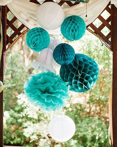A chic Teal Bridal Shower Luncheon with initial desserts, wedding date heart shaped cookies, paper lantern decor, mini champagne bottles, macarons & more!