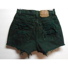 Vintage Dark Green Levis High Waisted Denim Shorts -Distressed -Waist... ($33) ❤ liked on Polyvore