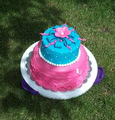 Baby Shower Cake -- pink and blue for twins, a boy and a girl!