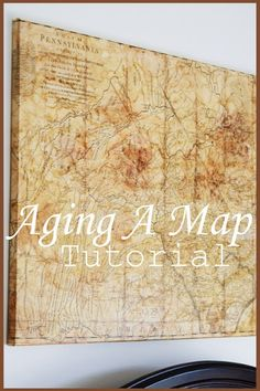 Aged maps are a great way to fill up large wall space. Make your own map with this DYI http://www.stonegableblog.com/2013/07/aging-map-tutorial.html