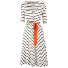 Olive and Orange Half Sleeve Chevron Stripe Dress, Cream/ink, 14 (3,320 PHP) found on Polyvore