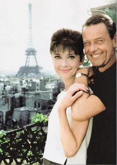 """Audrey Hepburn and William Holden on the Hotel Raphaël's rooftop during the filming of """"Paris When It Sizzles."""""""