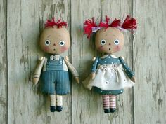 ITTY BITTY RAGGEDYS-doll, cloth doll, doll pattern, cloth doll pattern, raggedy, ornament, Christmas, primitive doll