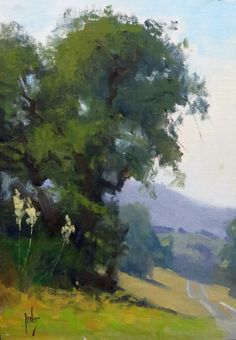 Landscape Painting American Luxury Along the Highway by Rusty Jones Oil X Design Oil Painting Trees, Watercolor Trees, Watercolor Landscape, Landscape Art, Landscape Paintings, Contemporary Landscape, Tree Art, Oeuvre D'art, Beautiful Landscapes