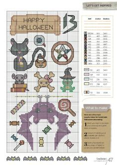 Small Halloween cross stitch charts,  food for goody bags