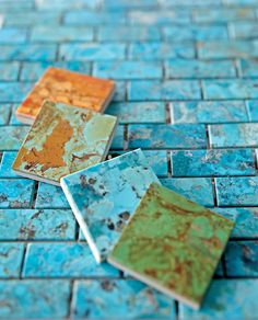 """""""Asteria"""" turquoise tiles, Ann Sacks (800/278-8453). i think the second from the top is beautiful"""