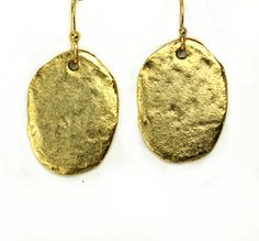 14k Yellow Gold Oval Disc Dangle Earrings By Goldenstatejewels 20 00 Geometric Jewelry Metal