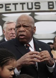 "REPRESENTATIVE JOHN LEWIS, D-Ga., describes the events of ""BLOODY SUNDAY"" during a visit to the Edmund Pettus Bridge, in Selma, Alabama, Sunday, March 7, 2010.  