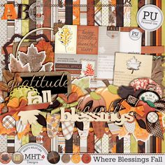 "Freebie Friday: Most recent kit ""Where Blessings Fall"" is absolutely gorgeous! Fall is at hand (at least in some parts of the world, which means that this is the time... #digiscrap #mistyhilltops #freebiefriday"
