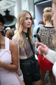 They Are Wearing: Milan Fashion Week - WWD.com.  Like the hair & leopard shirt of the girl in on the right.