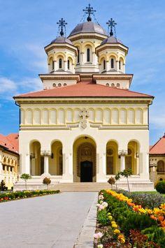 Coronation Cathedral, Alba Iulia - Romania #places Bulgaria, Home Temple, Church Pictures, Romania Travel, Cathedral Church, Old Churches, Tourist Places, Place Of Worship, Beautiful Architecture