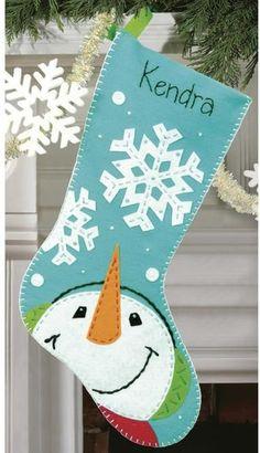 Catching Snowflakes Christmas Stocking - Felt Applique Kit