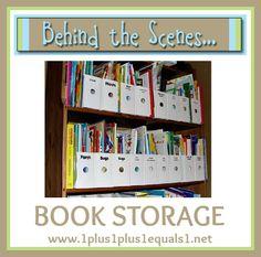 Behind the Scenes ~ Book Storage - 1 1 Kids Shoe Storage, Diy Toy Storage, Diy Makeup Storage, Book Storage, Storage Room, Kitchen Storage, Preschool Labels, Book Baskets, How To Make Labels