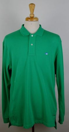 Southern Tide The Skipjack Polo Men's Mint Green Long Sleeve Cotton Shirt Large #SouthernTide #PoloRugby