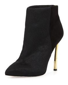 calf hair booties with gold heel