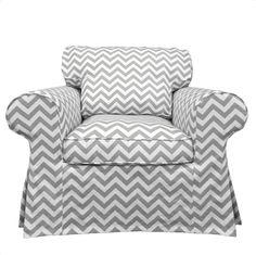 Custom Ektorp Armchair slipcover in Gray Chevron.
