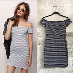 Tobi off shoulder stripe dress blue In great condition Tobi Dresses