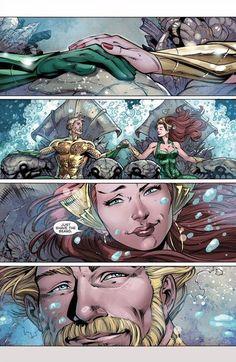 aquaman and Mera Dc Comics Art, Marvel Dc Comics, Anime Comics, Aquaman, Xmen, Detective Comics, Dc Heroes, Illustrations, Comic Character