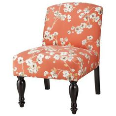 Captivating Foster Armless Slipper Chair   Coral/White Floral I Need This Pop Of Orange  In