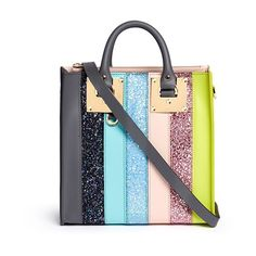 Sophie Hulme Albion Square' mini glitter rainbow stripe leather box... (30 125 UAH) ❤ liked on Polyvore featuring bags, handbags, tote bags, sophie hulme tote, handbags totes, leather handbag tote, leather purses and genuine leather tote