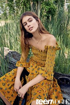 Kaia Gerber models off-the-shoulder top and skirt set by Molly Goddard