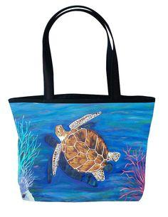 Loggerhead Sea Turtle Large Handbag Tote Bag by by SalvadorKitti, $38.50